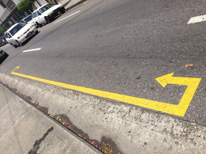 These yellow arrows could save you from getting wrecked